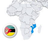Mozambique on Africa map
