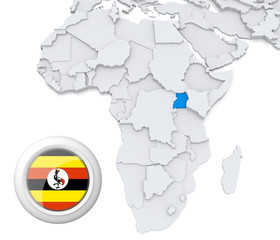 Uganda on Africa map