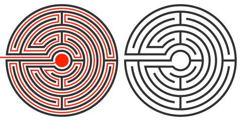 Labyrinth puzzle and the solution