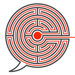 Speech bubble labyrinth puzzle