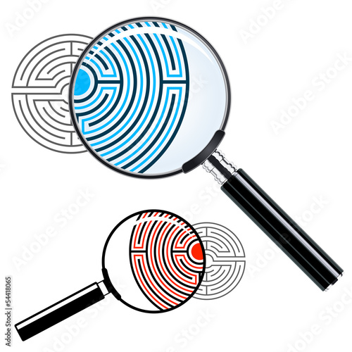 Magnifying glass over a labyrinth