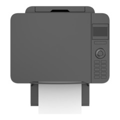 top view of modern black office multifunction printer isolated o