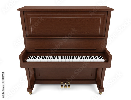 brown upright piano isolated on white background