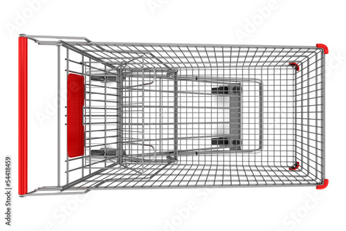 top view of empty shopping cart isolated on white background
