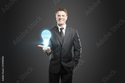 lightbulb projection in hand