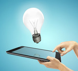 tablet and lamp