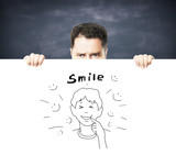 placard with smile concept