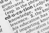 Macro image of dictionary definition of education