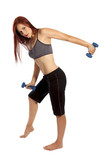 Pretty woman with red hair works her triceps with hand weights. poster