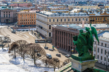 Sculputure and aerial view from St. Isaac's Cathedral
