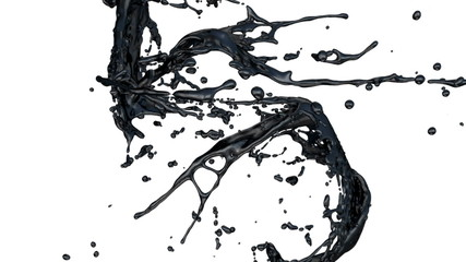 black paint splashes in slow motion (FULL HD)