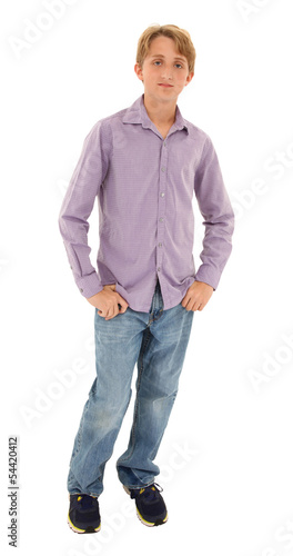 Serious Handsome Teen in Casual over white with clipping path.