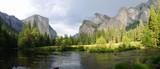 Panoramic view of Merced River in Yosemite National Park.