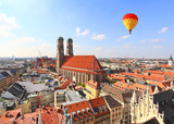 The aerial view of Munich city center