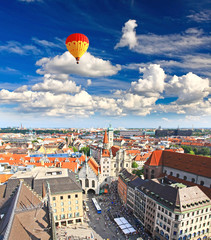 The aerial view of Munich city cente