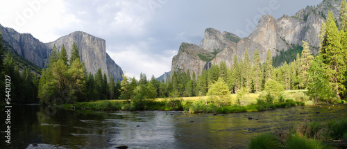 Panoramic view of Merced River in Yosemite National Park.