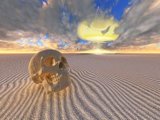human skull and nuclear explosion in desert