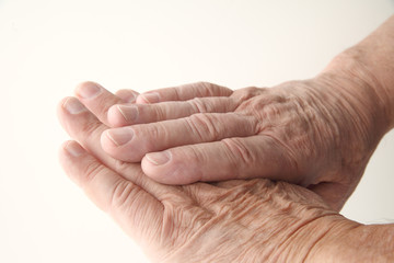 closeup view of a senior man's aging hands