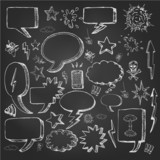 Speech bubbles doodles in black chalkboard eps 10