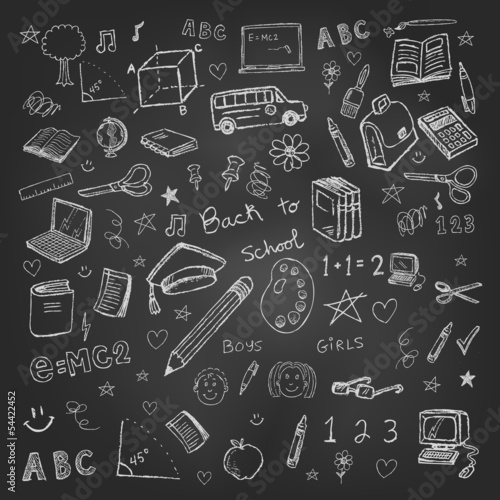 Back to school doodles in chalkboard background eps 10