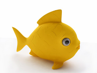 Funny Yellow Plastic Fish Toy in 3d