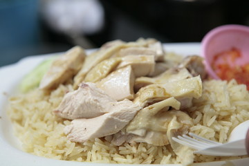Singapore's famous chicken rice at hawkers food court