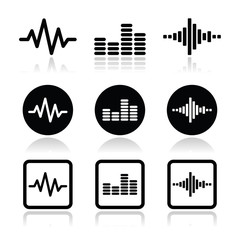 soundwave music vector icons set