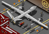 Isometric Drone Airplane Landed in Rear View poster