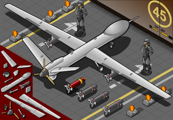 Isometric Drone Airplane Landed in Rear View