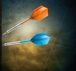 Grunge background with darts