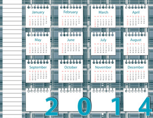 2014 year calendar on the background pattern in the cell