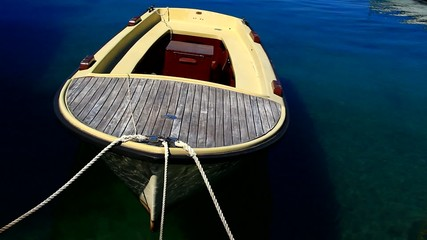 Small boat in the marina.