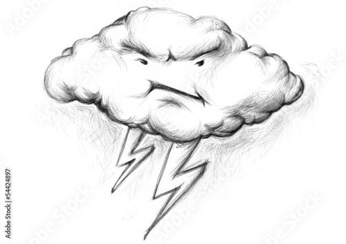 canvas print picture Gewitterwolke mit schlechter Laune