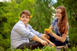 teenagers have fun in the park, first dating, first love