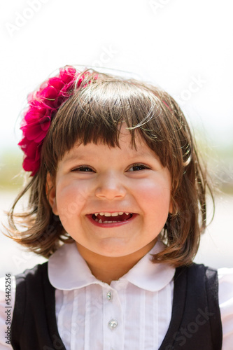 Portrait of cute little girl with copy space