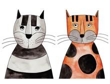 Koty. Artwork, tusz i akwarela na papierze