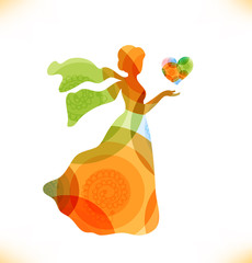 Beauty fantasy woman with heart. Fairy magic woman
