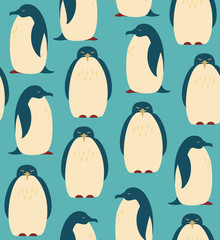 Seamless pattern with penguins. Birds decorative background