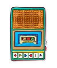 Pop art audio tape recorder