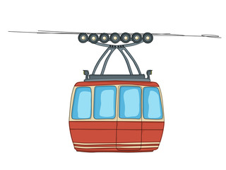 Cable-car on ropeway
