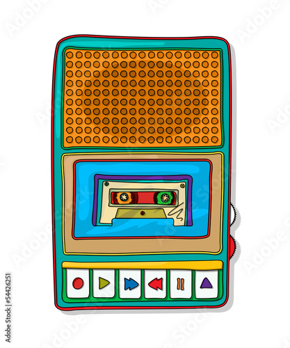 Pop art audio tape recorder