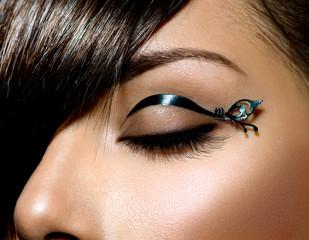 Fashion Make up. Stylish Female Eye With Black Liner makeup