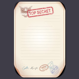 Old Top Secret Document on Table. Vector Template