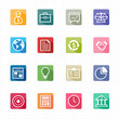 Flat icons business finance and white background