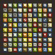 100 Universal Flat Icons with long shadows