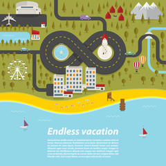 Endless vacation. Vector illustration.