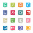 Green ecology icon set and white background