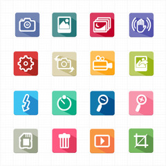 Flat icons photo camera function and white background