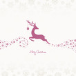Jumping Reindeer, Christmas Ball & Stars Beige/Berry