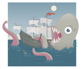 Sea Monster attacking a Pirate Ship